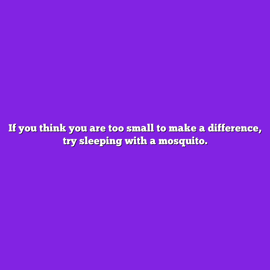 If you think you are too small to make a difference, try sleeping with a mosquito.